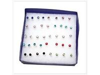 Womens Earrings. Stud. Small. Plastic. Colours Vary. Set of 5 Pairs. New. Unused.