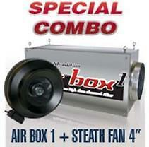 """Air Box 1 and Stealth 4"""" fan Hydroponic Garden Combo"""
