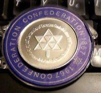 1867-1967 Canada Centenial Confederation Silver Token/Coin