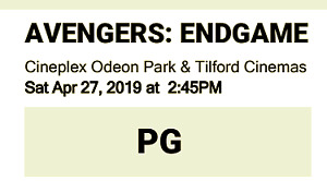 Avengers Movie Tickets, Saturday April 27th at 2:45