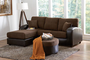 Brand NEW Flat Suede Chocolate Sectional! Call 705-735-3344!