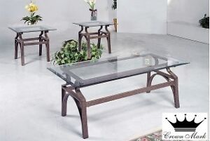 BRAND NEW 3 Piece Glass/Metal Coffee Table Set 236-425-2011