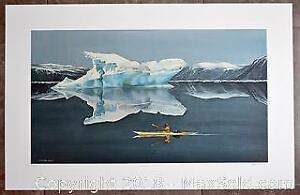 """Oswald Schenk """"Spring Visitor - Baffin Island"""" Inuit Kayak limited edition print, Publisher's Proof - Rare Print"""