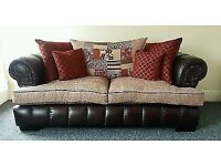 3 Seater Chesterfield Sofa, Swivel Chair and Footstool.