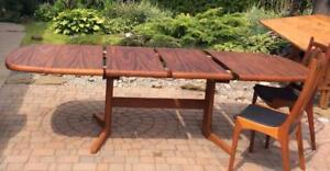 """REFINISHED Mid Century Modern Rosewood or Teak Dining Table w 2 Extension Leaves in style of Niels Otto Møller up 100"""""""