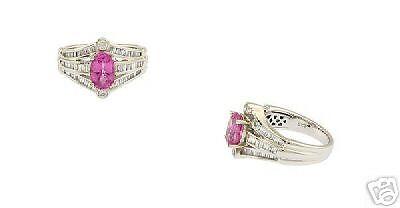 18k Wg Ladies Pink Sapphire Diamond Ring