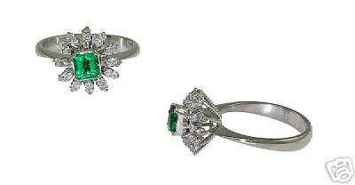 Estate 14k Wg Ladies Diamond Emerald Ring