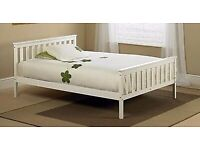 4.6 white wooden double bed and mattress