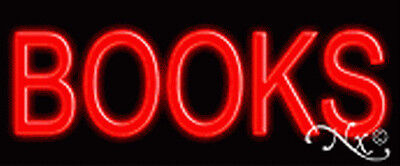 """BRAND NEW /""""BOOKS/"""" 24x10x3 RED REAL NEON SIGN w//CUSTOM OPTIONS 12021"""
