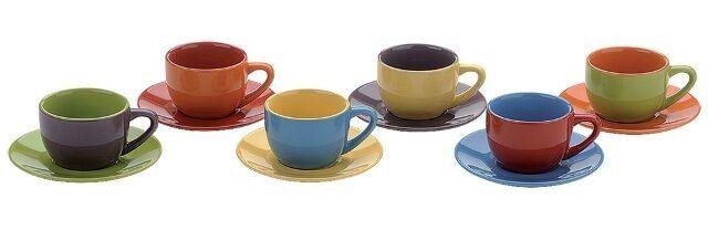 BIA Cordon Bleu Set of 6 Small Coloured Espresso Cups & Saucers