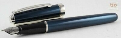 SHEAFFER PRELUDE 383 METALLIC BLUE WITH CHROME TRIM FOUNTAIN PEN AWESOME DESIGN!