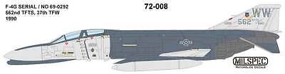 MILSPEC DECAL, MS 72-008, 1/72 SCALE, F-4G PHANTOM, 562nd TFTS, 37th TFW