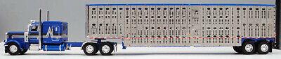 DCP FIRST GEAR 1/64 SCALE 389 PETERBILT FLAT TOP BLUE LIVESTOCK TRAILER #60-0816
