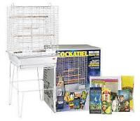 Cockatiel cage with stand.