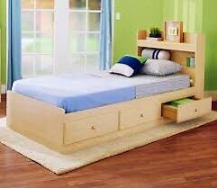 Single bed with 3 drawer under frame. And head board.