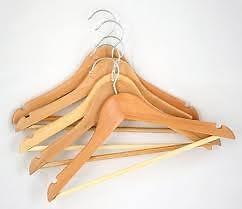 Hangers Chrome and Natural wood carton 10 QTY FOR $ 8 Collection Suit Hangers