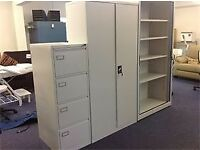 Second hand office storage - filing cabinets - tambour units with sliding doors- excellent condition
