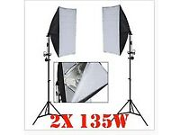 2 x 135w Photo Studio Continuous Lighting Softbox Soft Box Light Stand Kit set
