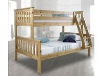BRAND NEW!! CHEAPEST PRICE EVER WHITE AND WOODEN TRIO SLEEPER BUNK BED!! STARTING FROM