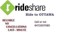 NEED A RIDE TO OTTAWA???( Everyday 10am & 6pm ) call 6472057085