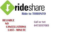 Ride to Toronto EVERY DAY!! 7days/week  10.30am & 6pm Downtown