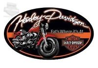 """Harley Davidson Embossed """"Fat Boy"""" Oval Tin Sign (New)"""