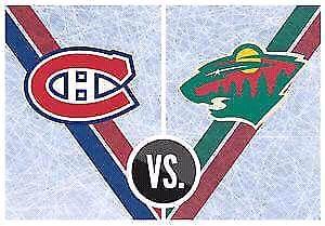 2 billets pour le match Canadien Wild