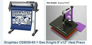 "Graphtec 28"" Vinyl cutter plotter + 9""x12"" Geo Knight Heat Press"