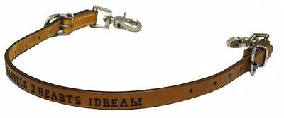 3 Barrels 2 Hearts 1 Dream Branded Leather Wither Strap Barrel Racing 2 Snaps