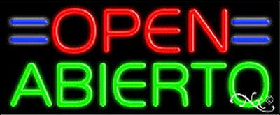 - OPEN ABIERTO HANDCRAFTED REAL GLASSTUBE NEON SIGN