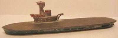 Old Unusual Slush Metal Military Aircraft Carrier - Boat - Made in France