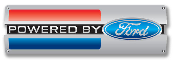 "Powered By Ford Metal Sign ( 18"" by 6"" )"