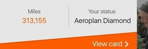 313k Aeroplan miles for sale.