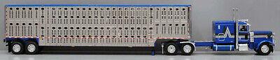 DCP FIRST GEAR 1/64 SCALE 389 PETERBILT FLAT TOP BLUE LIVESTOCK TRAILER #60-0816 1