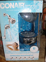 Conair Wall-Mount and Handheld Showerhead Set, new - many setti
