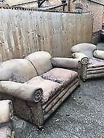 VINTAGE GEORGIAN 3 PIECE SUITE IN GOOD USED CONDITION ,FREE LOCAL DELIVERY ,07486933766