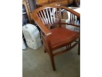 6 Lovely Solid dark wood bucket chairs in excellent condition.