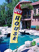"""15 foot tall real estate """"open house"""" feather flags"""