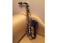 ALTO SAXOPHONE of BEAUTY - MENDINI - BLUE and GOLD - NEW!!!