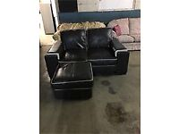 DARK BROWN 2 SEATER LEATHER SOFA WITH MATCHING FOOTSTOOL