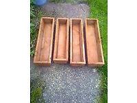 4 x Trough Garden Wood Planters
