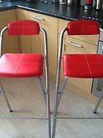 Breakfast bar stools two in red