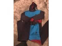 Adidas tracksuit blue,red, black, age 13-14