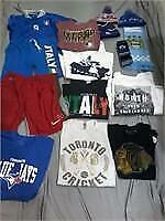 Lot of 14 Asstd Sports Themed Clothes, Hats etc
