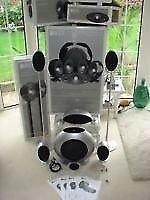 KEF KHT3005 5.1 Home Theatre Speaker System Gloss Silver with 2 stands