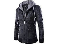 Zip Up Hooded PU Jacket Faux Leather Casual Jacket
