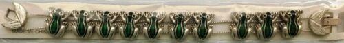 FROGS Slide Charm Bracelet new vintage silvertone green frog, toads
