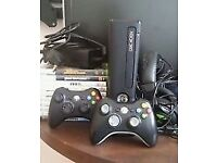 Xbox 360 Slim 4GB + 2 Controllers + Games + Turtle Beach Headphones