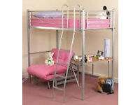 HIGH SLEEPER SINGLE BED With PINK FUTON/PULL OUT BED/SOFA & DESK. NO MATTRESS - Takes SINGLE £130VGC
