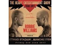 Robbie Williams Tickets for THE HEAVY ENTERTAINMENT SHOW at Etihad Stadium 2nd June 2017 X2